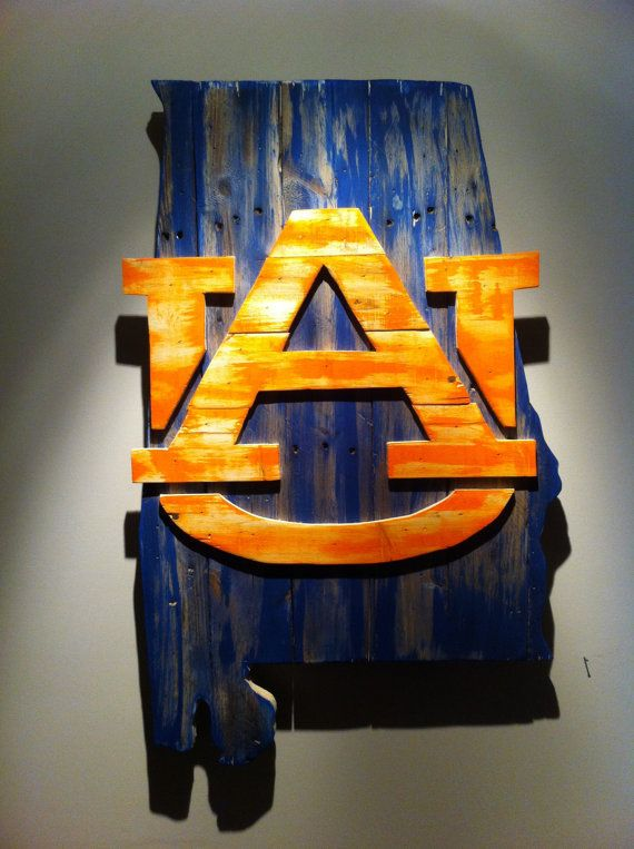 Wooden State of Alabama with Auburn logo by CampgroundProduction