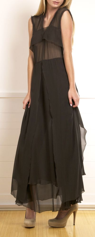 Costume National Dark Moss Green Sheer Layered Dress. It can go from the perfect fashion-savvy evening gown, to a more simple evening affair dress.