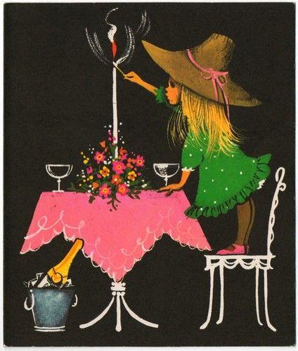 Vintage Greeting Card Wat een super leuk kaartje. Vooral de kleurencombinatie spreekt mij erg aan.