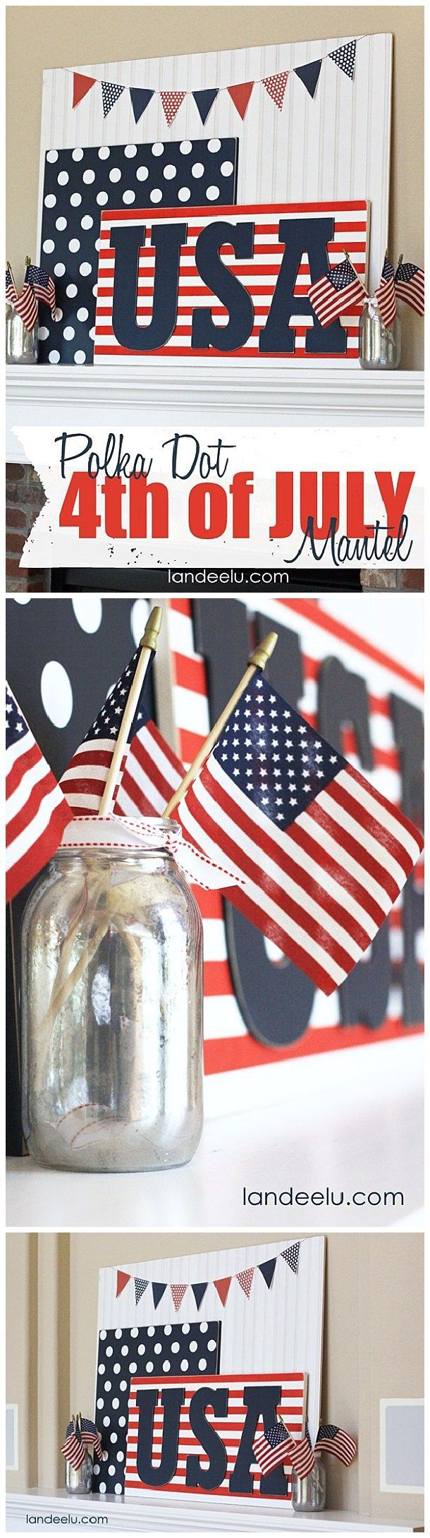 Coloring pages for dots for 4 of july - Polka Dot 4th Of July Mantel