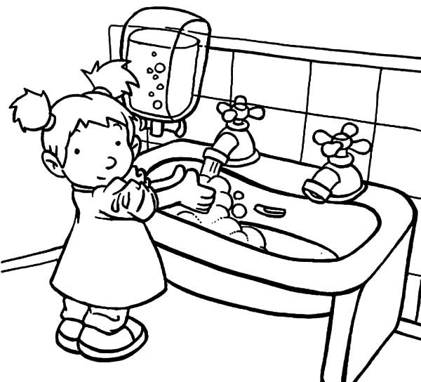 A Sink Is For Hand Washing Coloring Pages : Coloring Sun