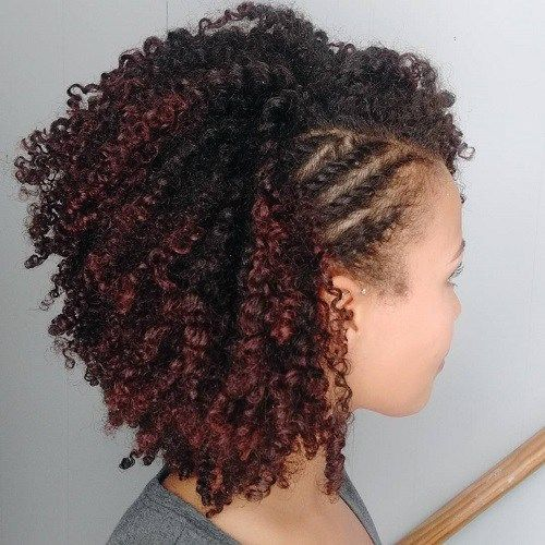 Short Black Curly Hairstyle With Side Twists #naturalhairstylesforshorthair