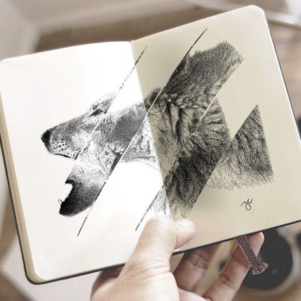 Joseph Catimbang crée des dessins visuellement complexes en utilisant uniquement des stylos noirs et un carnet de croquis
