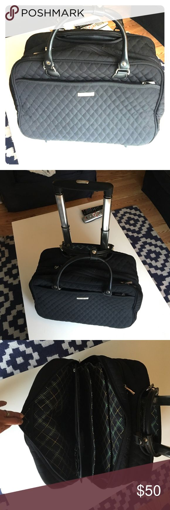Black vera bradley travel bag black carry on w rolling wheels and adjustable handle