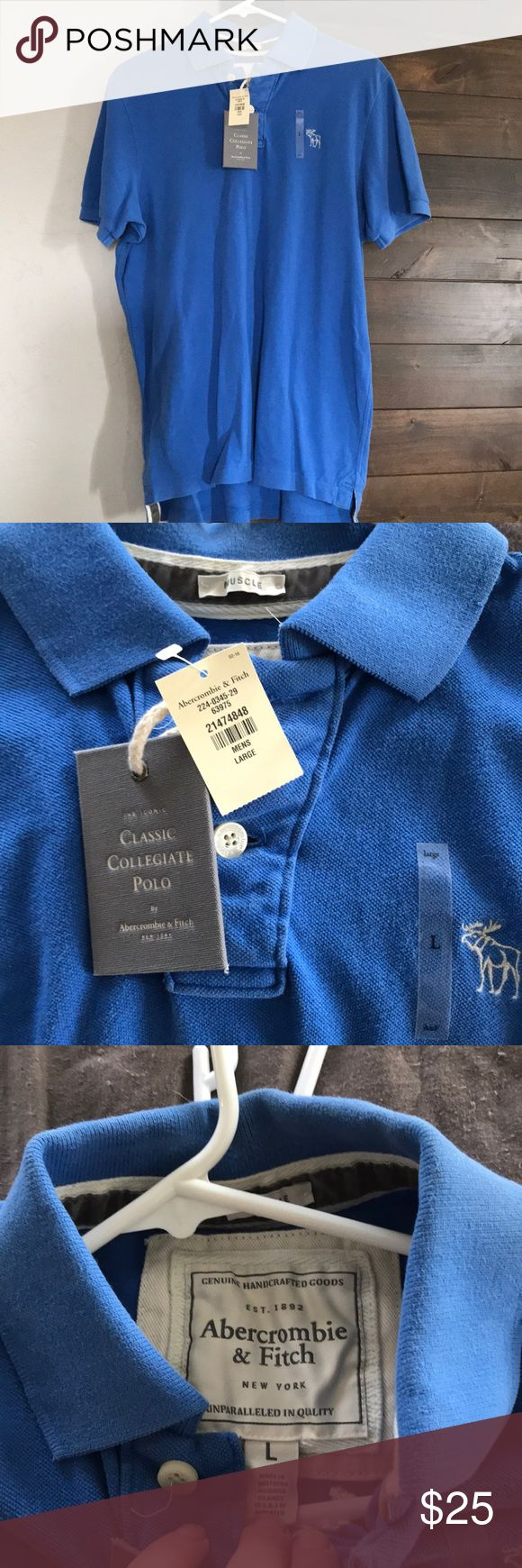 Abercrombie & Fitch NWT men's polo blue We bought this shirt for our groomsmen for a beach wedding but didn't end up going with the color.  NWT Abercrombie men's size L classic collegiate collection Abercrombie & Fitch Shirts Polos