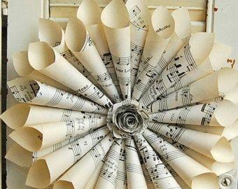 Sheet Music Wreath Vintage Hymnal wtih paper by roseflower48