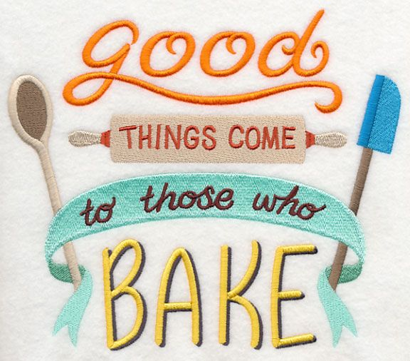 humorous kitchen sayings are a sweet addition to embroidery projects - Bakers Gonna Bake Kitchen Redwork Embroidery Designs