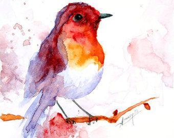 ORIGINAL Watercolor painting Bird Illustration by ArtCornerShop