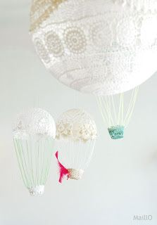 Cute hot air balloons from doilies!