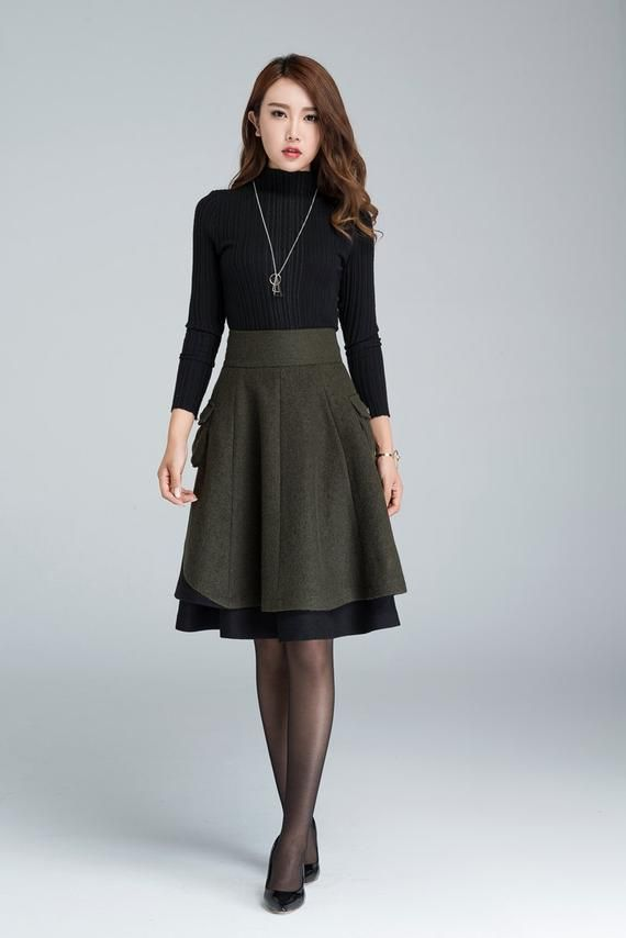 Short wool skirt, winter skirt, layered skirt, skater skirt, womens skirt, pleated wool skirt, patchwork skirt, green skirt 1627