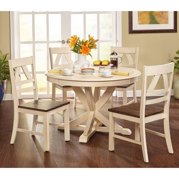 Simple Living Vintner Country Style Dining Set (3pc Vintner Dining Set,  Antique White/Oak), Size 3 Piece Sets. Dining SetsDining TablesSimple ...