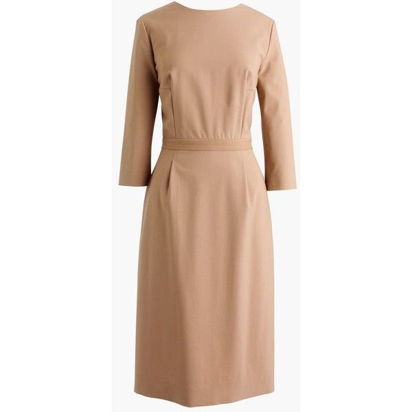J.Crew Bracelet-Sleeve Dress ($200) ❤ liked on Polyvore featuring dresses, petite, 3/4 sleeve dress, beige dress, three quarter length sleeve dresses, three quarter sleeve dress and back zipper dress