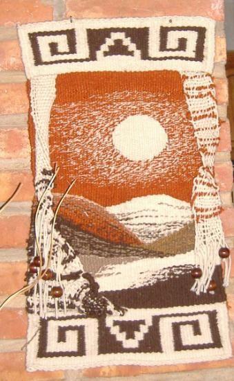 cuatro elementos: tierra tapiz en telar lana tejido en telar