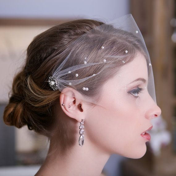 Tulle Bandeau Birdcage Veil, Bird Cage Veil, Bridal Veil, Crystal Veil, Pearl Veil, Wedding Veil, Scattered Pearls and Crystals, STYLE 147