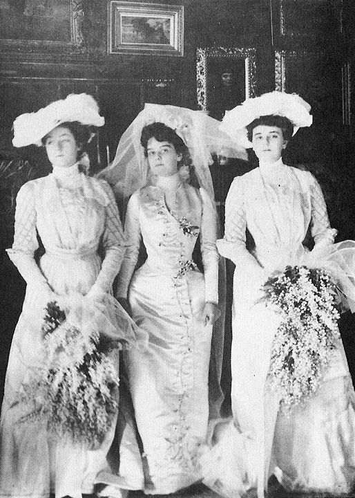 Miss Helen Hay and her bridesmaids. Miss Hay was the daughter of John Hay who had been private secretary to President Lincoln and later Ambassador to the Court of St. James under President McKinley. Mr. Whitney who, like his father, went to Yale, was 26. For a wedding gift, Col. Payne gave the couple a Stanford White house at 972 Fifth Avenue.