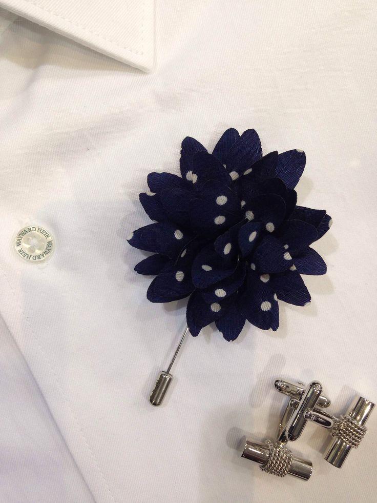 Wayward Heir shirt with lapel pin and cufflinks.
