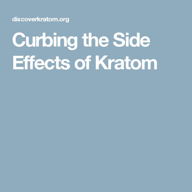 Curbing the Side Effects of Kratom