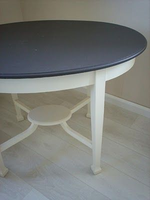 looks like a DIY table - love the charcoal gray top