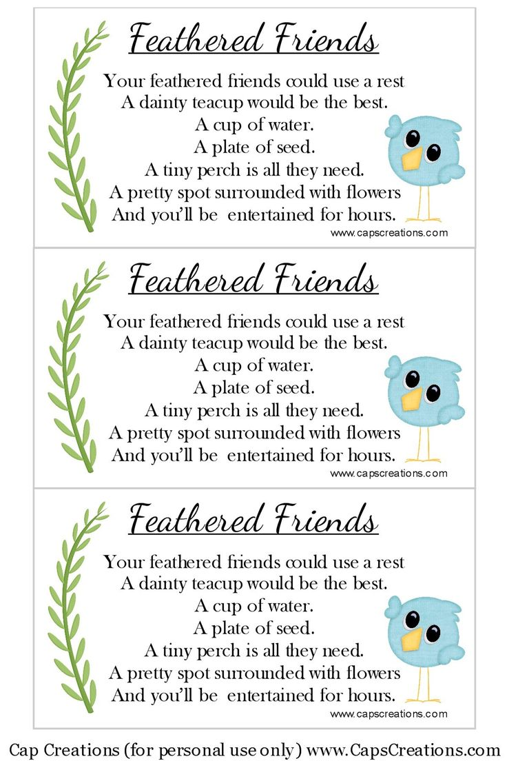 Teacup Bird Feeder Poem (Free Printable)
