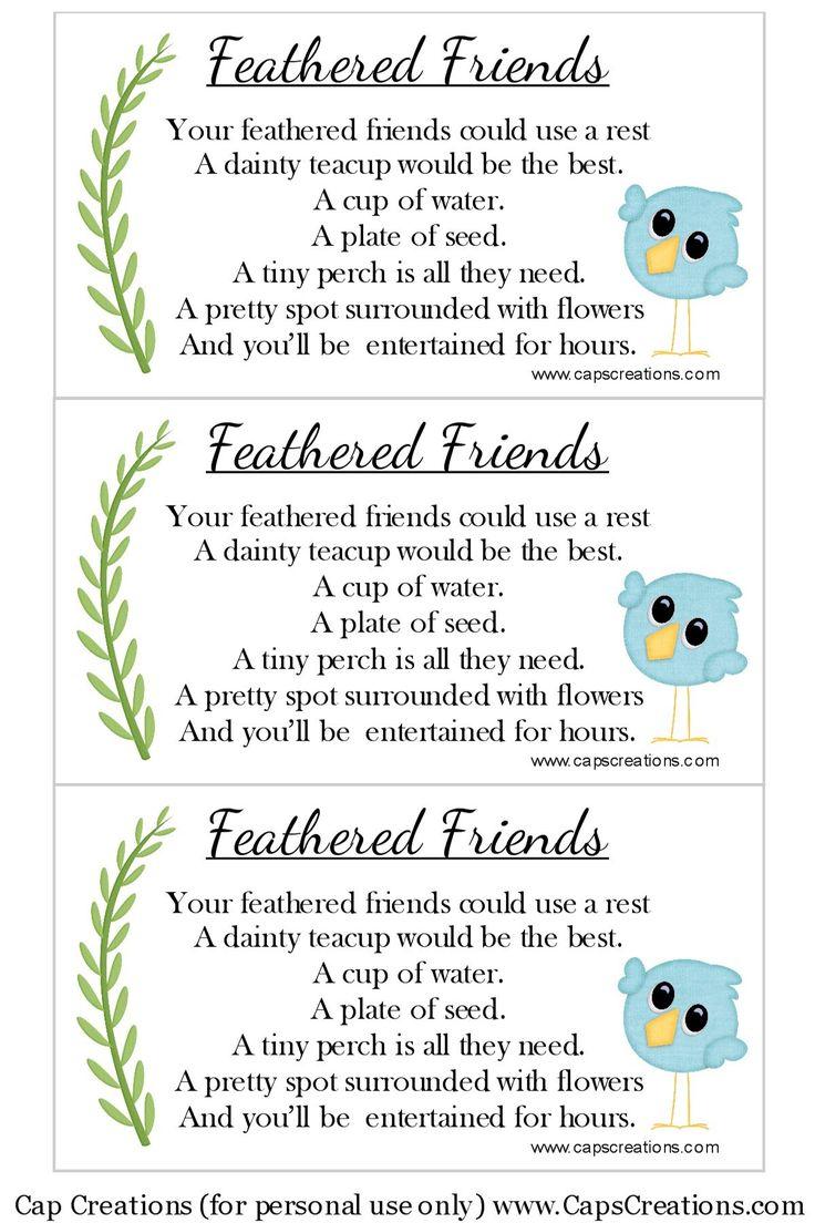 Teacup Bird Feeder Poem (Free Printable)