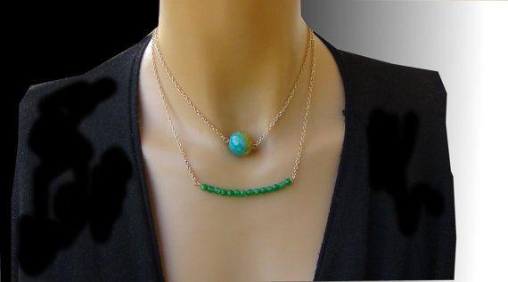 Collana Multifilo Agata verde Collana doppio di Frammentidivetro