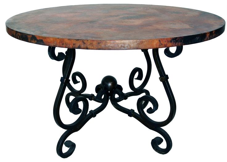 Decorative Wrought Iron Table Legs | Prima French Dining Table with 60 inch Round Copper Top