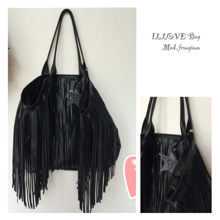 ILLOVE Bag  frange Italian Leather total black