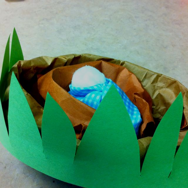 Baby Moses in the basket. Kids will love this craft! Brown paper bag, rolled down, green construction paper cut to look like long grass, stapled to the sides, painted the bottom blue to look like water. Baby is just 3 cotton balls swaddled nice and tight.