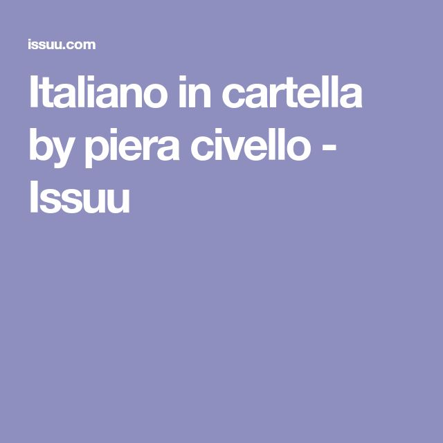 Italiano in cartella by piera civello - Issuu
