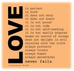 TEXT: Love is patient. Love is kind. Love does not envy. Love does not boast. Love is not proud. Love is not rude. L