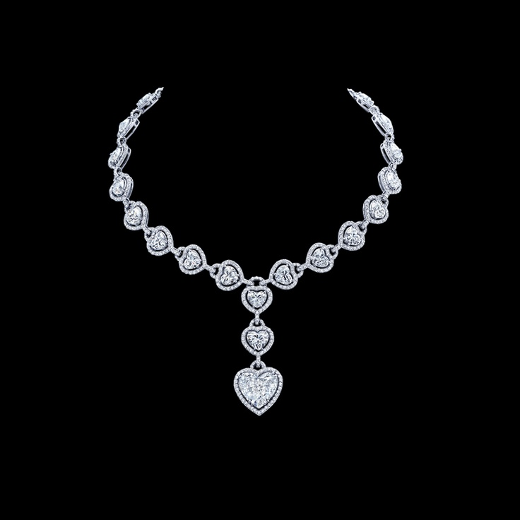 Heart Shape Diamond Drop Necklace 48 Carats Total Weight