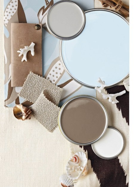 Color Palette Seaside Neutrals from BHG February 2011 - Valspar Paint from top to bottom - Frappe, Ice Rink Blue, Safari Beige, Dove White