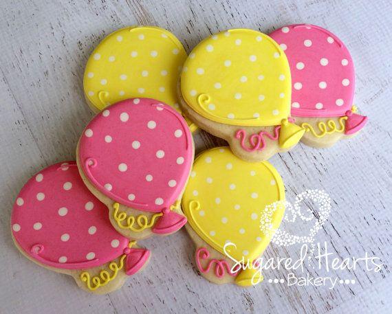 Balloon Polka Dot Birthday Party Cookies by SugaredHeartsBakery