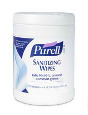 Servetelele dezinfectante Purell distrug germenii in proportie de 99,99% printr-o stergere usoara a mainilor.