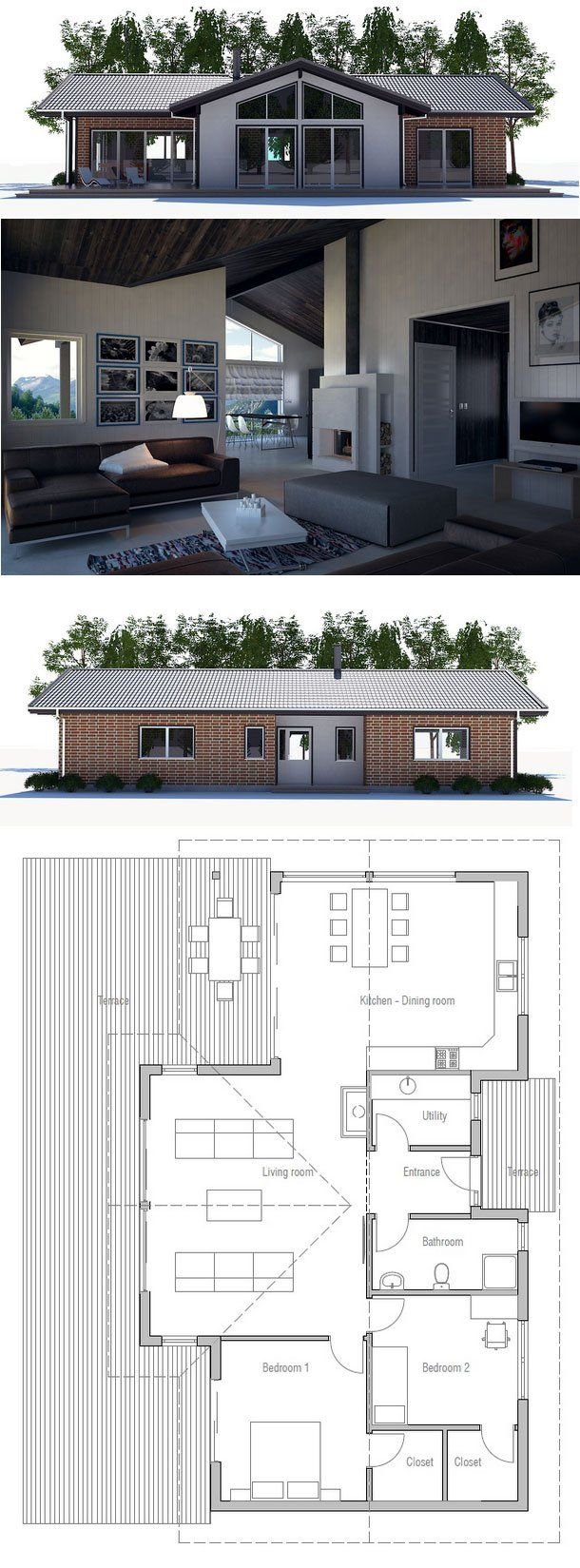 Small house plan with two bedrooms open