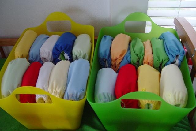 Cloth diaper storage -- TONS of stash storage pics!