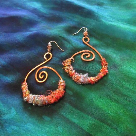Tribal Spiral Gypsy Hoop Earrings Jewellery Recycled Fabric