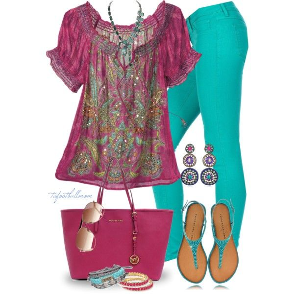 """""""Turquoise Jeans"""" by tufootballmom on Polyvore"""