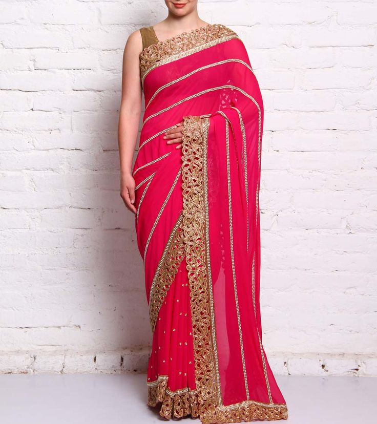 Pink Embroidered Georgette Saree #ethnicwear #saree #embroidered #embellished #georgette #summer #indianroots