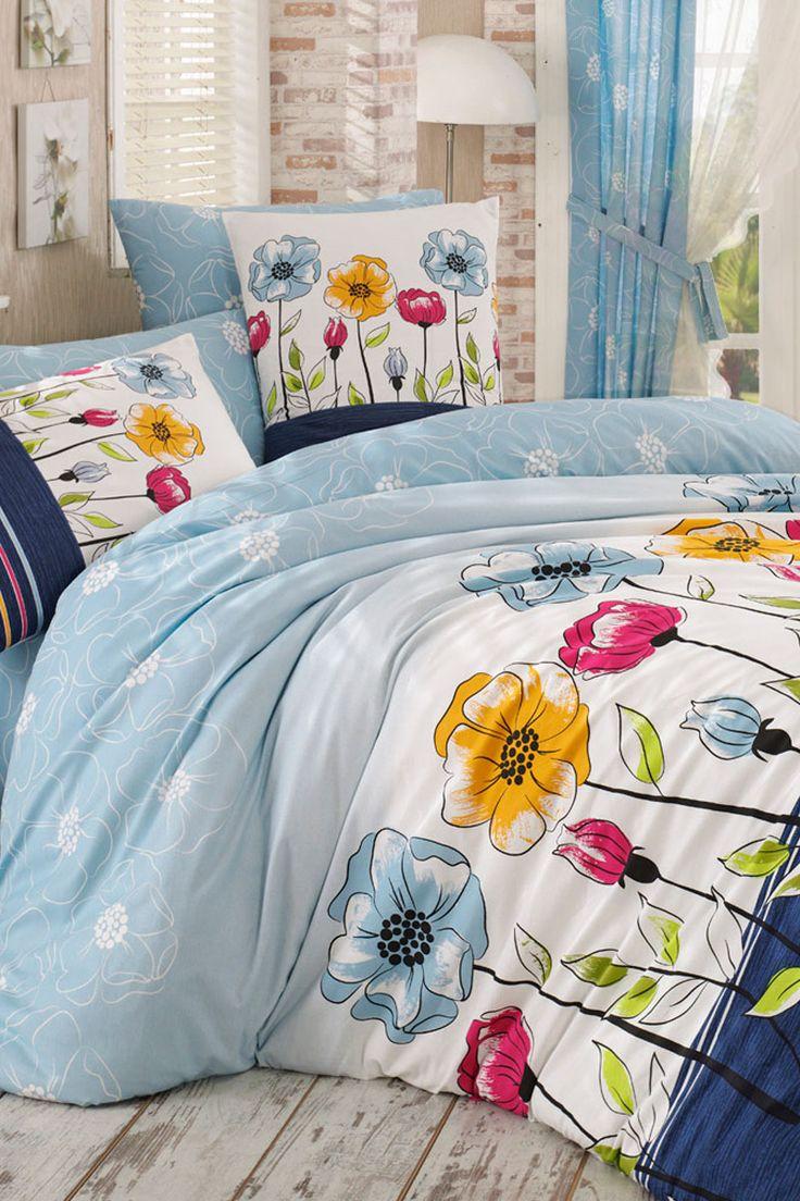 Vente dreamnights 22744 linge de lit motifs fleuris for Parure de couette bleu