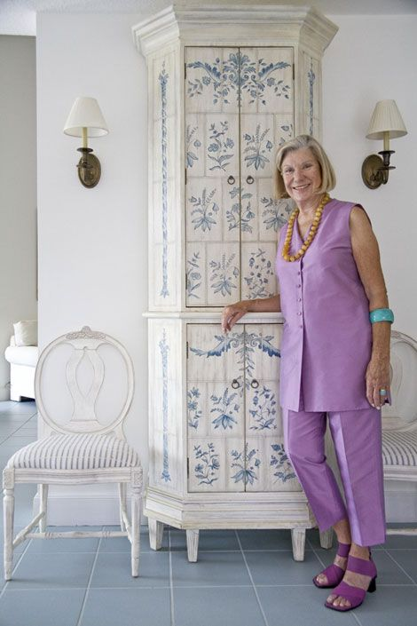 JoAnn Barwick, still one of my favorite Editors in Chief at House Beautiful, in her Swedish inspired beach cottage.