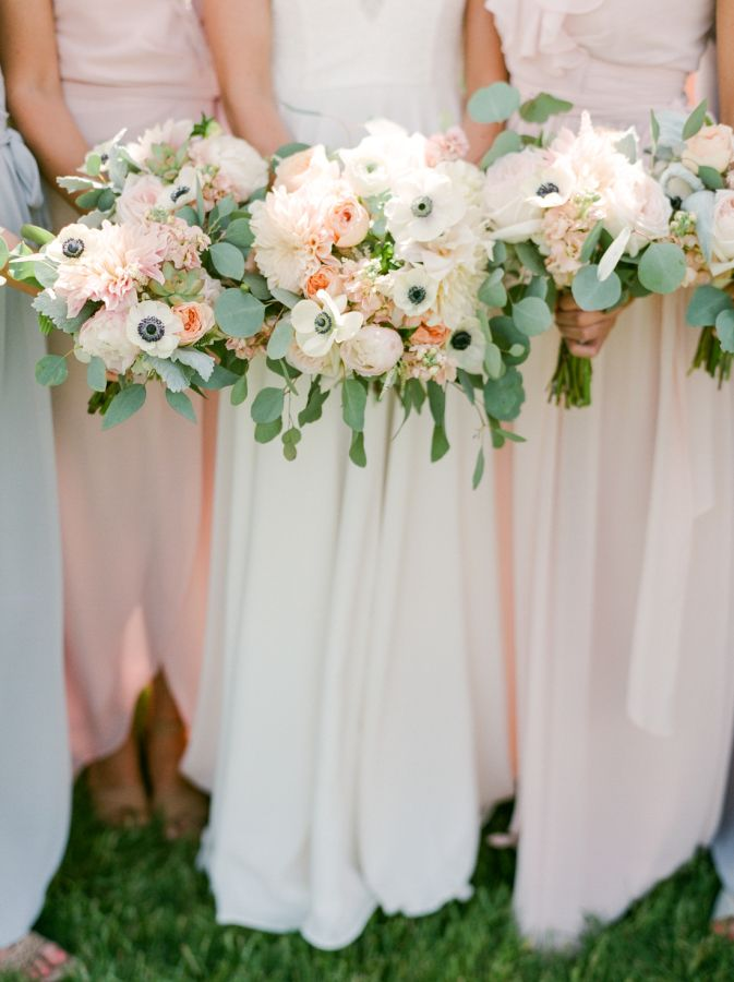 Anemone, peony and eucalyptus wedding bouquets: http://www.stylemepretty.com/colorado-weddings/tabernash/2016/10/10/rustic-glamour-pastel-outdoor-ranch-wedding/ Photography: Connie Whitlock - http://conniewhitlockphoto.com/