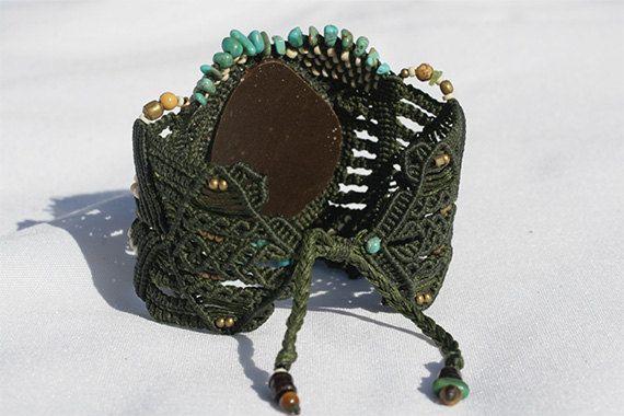 Boho chic Macrame turquoise bracelet stone bracelet. ethnic