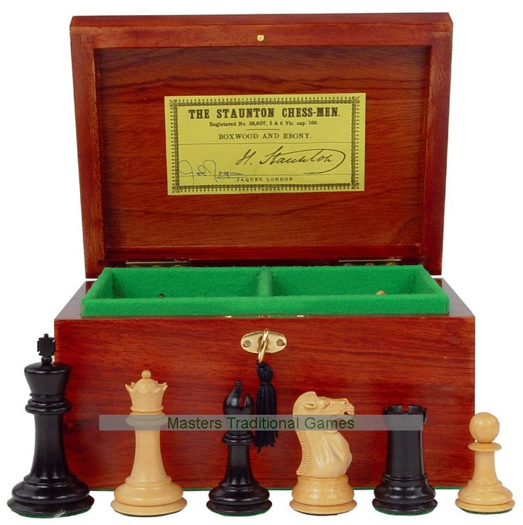 Shop Chess Set   Staunton Pieces With Mahogany Box.