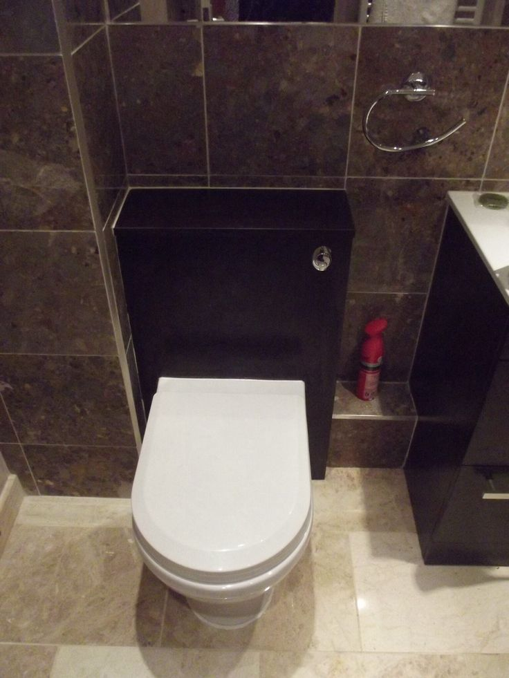 Matching 'back-to-wall' toilet with hidden cistern in 'wenge' effect unit.  http://www.ppmsltd.co.uk