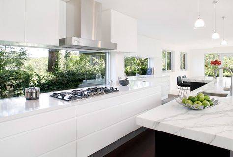 Beautiful kitchen splashback. The white is nice and bright too. Modern Kitchen Oatley | Art of Kitchens (2188) Big long kitchen drawers.