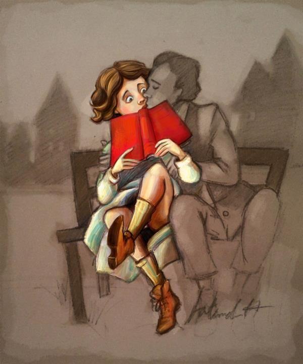 Love between books. Happy Valentine's Day! / Amor entre libros. Feliz San Valentín! / (ilustración de Fatemeh Haghnejad)