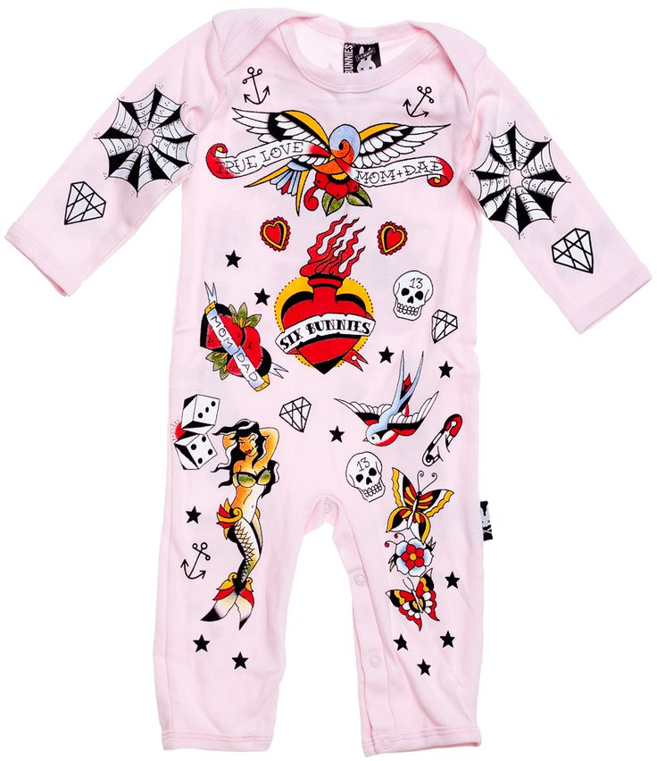 """SIX BUNNIES PINK OLD SCHOOL BODY SUIT ONE PIECE - Everyone has heard of my first tattoo right?  This adorable pink one piece features old school traditional tattoos placed on the onesie where real tattoos would normally be placed if you had a """"body suit"""" we will just call this one a baby suit!"""