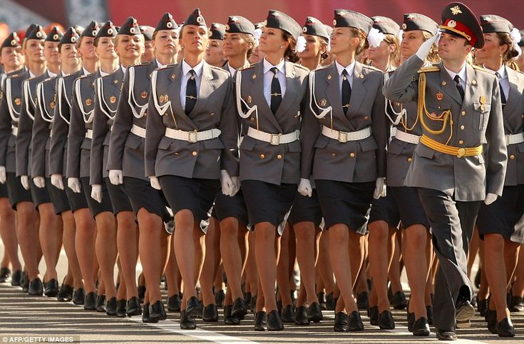 The female cadets took part in the nation's Victory Day military parades on Dvortsovaya Square, St Petersburg, alongside similar displays on Moscow's Red Square.