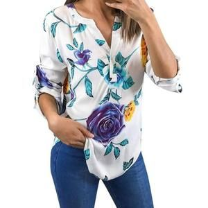 women blouse shirt with pearles Floral Printing Half Sleeve Tops Fashion V-Neckrricdress